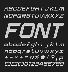 Bold italic alphabet font type letters and numbers vector