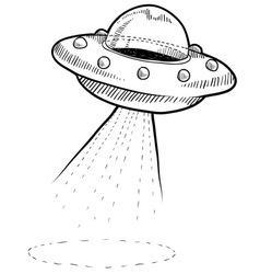 Doodle ufo spaceship vector