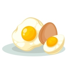 Set with raw fried and boiled chicken eggs vector