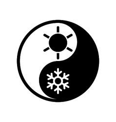 Symbol of climate balance in shape yin-yang vector