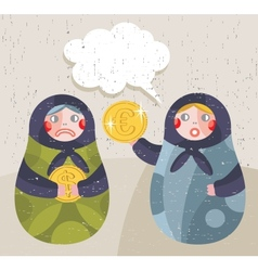 Matreshka doll with business news about currency vector