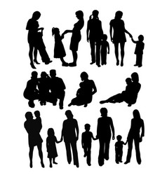 Mother and son activity silhouettes vector