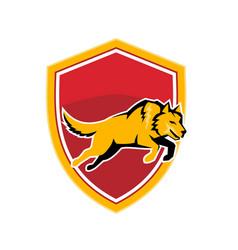 Wolf jumping crest shield retro vector