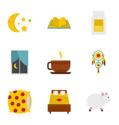 Preparation to sleep icon set flat style vector