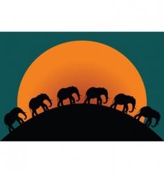silhouette of elephants vector image
