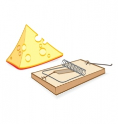 Cheese and mousetrap cartoon vector