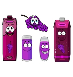Smiling grape and juice packs cartoon characters vector