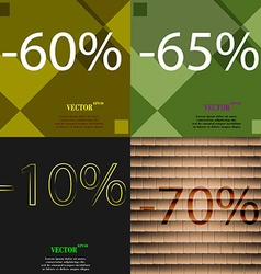 65 10 70 icon set of percent discount on abstract vector