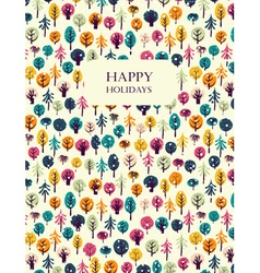 Happy holidays greeting card withl trees vector