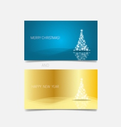 Holiday gift coupons with Christmas tree vector image