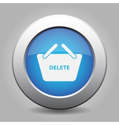 Blue button - shopping basket delete vector