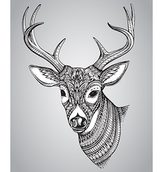 Hand drawn horned deer with high details ornament vector