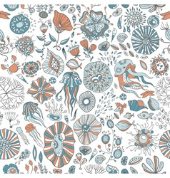 Underwater sea creatures vector