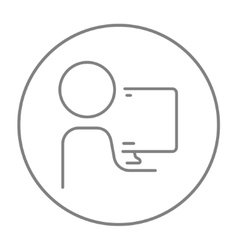 Man working at his computer line icon vector