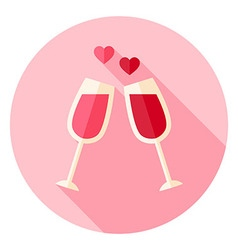 Two glasses with wine circle icon vector
