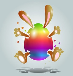 Easter bunny in the color egg vector