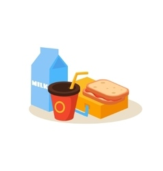 School lunch education design vector