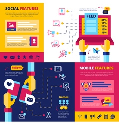 Social Network Features Flat Banners Composition vector image