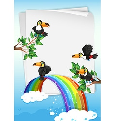 Paper design with toucans flying in sky vector image