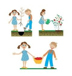 a set of drawings of children working in the vector image