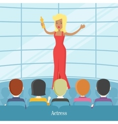 Actress superstar women in front of audience vector
