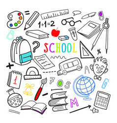 back to school hand drawn doodle education vector image