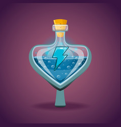 Bottle of magic elixir with energy symbol vector