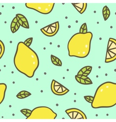 Bright lemons and leafs background vector