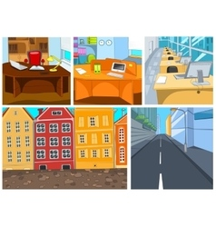 cartoon set of city office backgrounds vector image