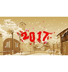 cartoon street of old town winter date 2017 vector image vector image
