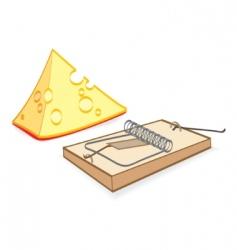Cheese and mousetrap cartoon vector