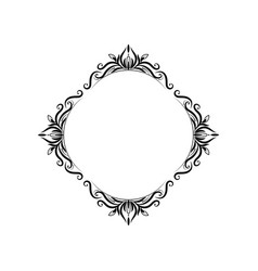Classic black vintage round frame vector