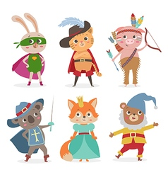 Cute animal kids in different costume Cartoon vector image vector image
