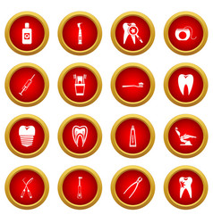 Dental care icon red circle set vector