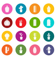 different cactuses icons many colors set vector image