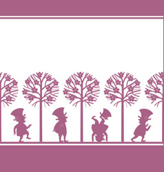 endless border with leprechauns in spring garden vector image vector image