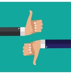 Flat design thumbs up and down background vector
