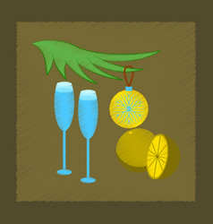 Flat shading style icon glasses champagne oranges vector