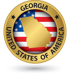 Georgia state gold label with state map vector