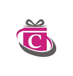 Gift box ribbon letter c vector