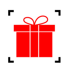 gift box sign red icon inside black focus vector image
