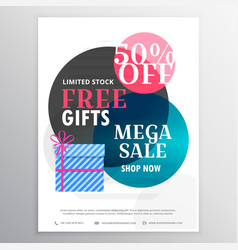 Gifts and discount voucher with colorful circles vector