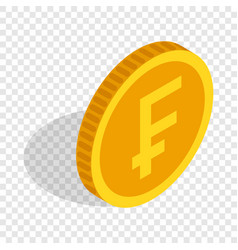 Gold coin with swiss frank sign isometric icon vector