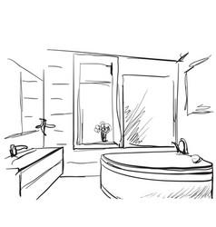 hand drawn bathroom vector image vector image
