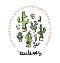 Hand drawn cactus set cactus - lettering vector