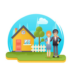 Happy young family with new house real estate vector