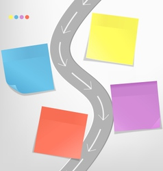Infographic elements paper sticker with road on vector