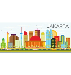 Jakarta Skyline with Color Buildings vector image vector image