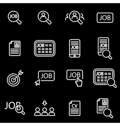 Line job search icon set vector