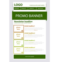Newsletter green template with spring colors vector